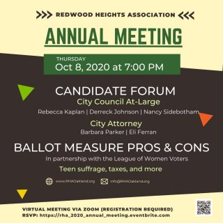 Preparation is the key to being an informed voter. RHA is here to help you understand some of the local #Oakland races and CA ballot measures. Join us! RSVP today - http://ow.ly/KbMf50BxqT7 #RedwoodHeights #Vote2020 #YourVoteMatters