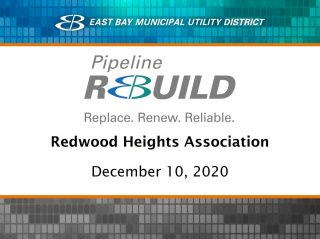 Did you miss the EBMUD presentation about the Pipeline Rebuild project in Redwood Heights? It's now available on YouTube at https://youtu.be/p8RsVrvDXDA. #EBMUD #RedwoodHeights #Oakland #Water